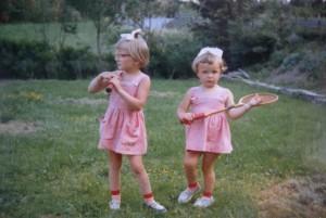Tennis-ess, med søster Tone